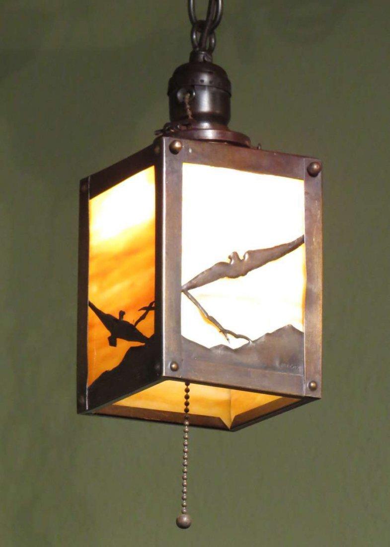 F.H. Cox Copper Lantern with Cutout Seagull c1910s