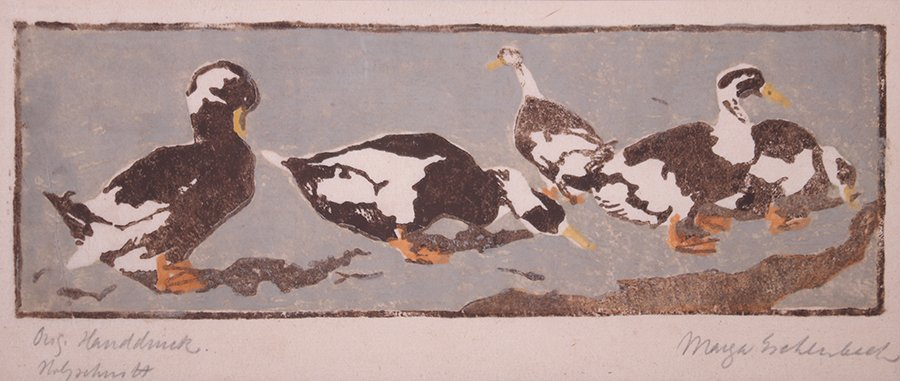 Arts & Crafts Woodblock Print of Ducks c1910