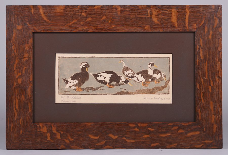 Arts & Crafts Woodblock Print of Ducks c1910 - 2