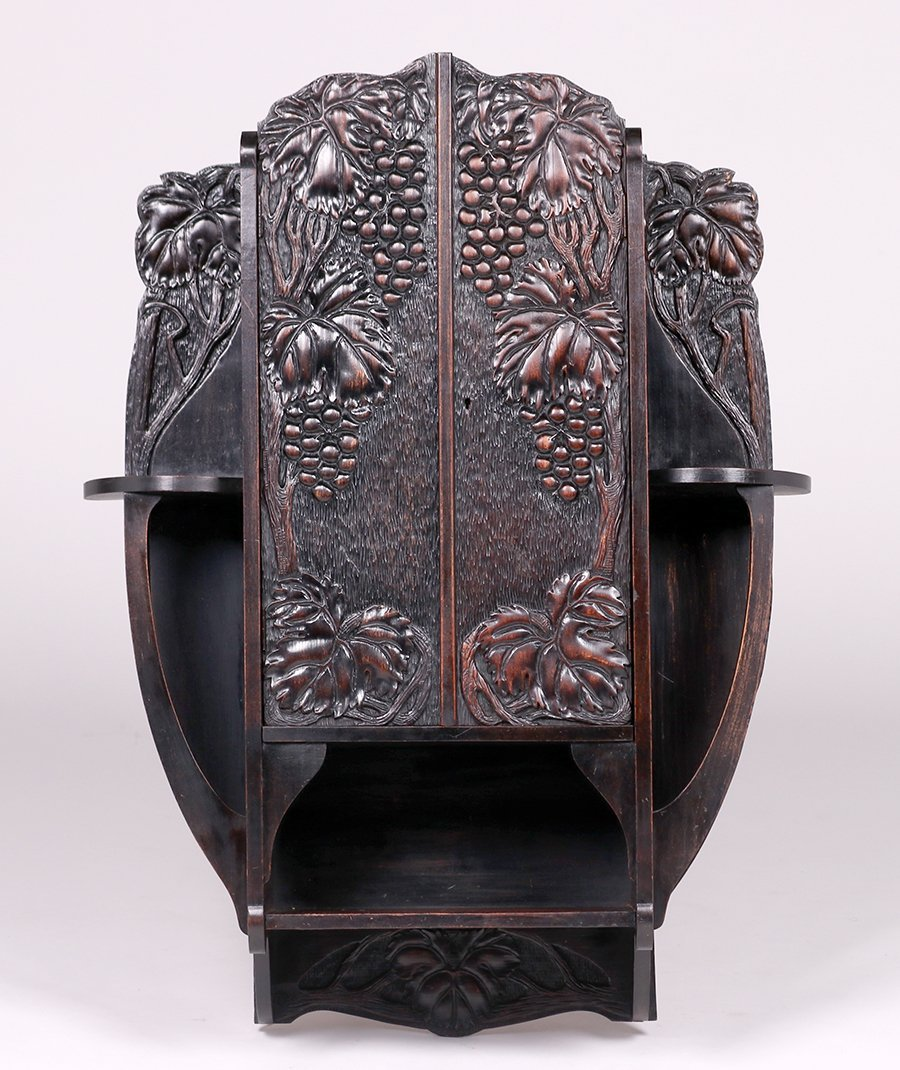 Arts & Crafts Carved Grapevine Wall Cabinet c1905