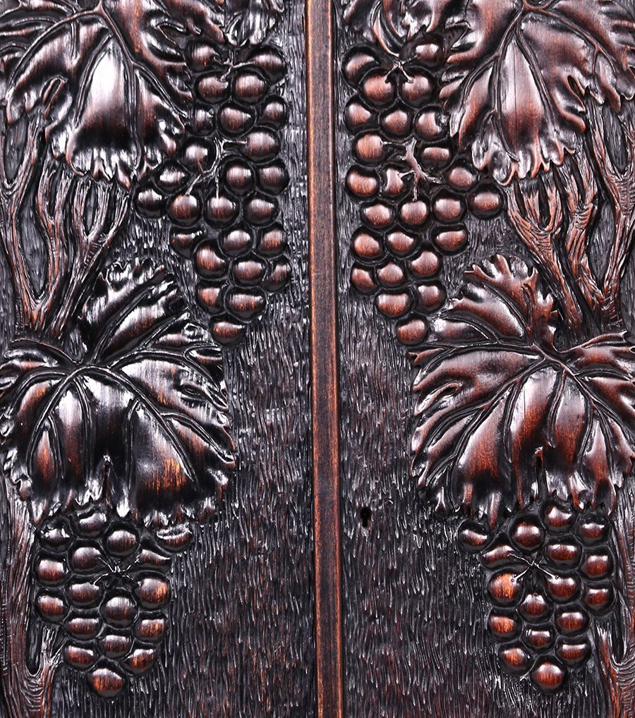 Arts & Crafts Carved Grapevine Wall Cabinet c1905 - 2