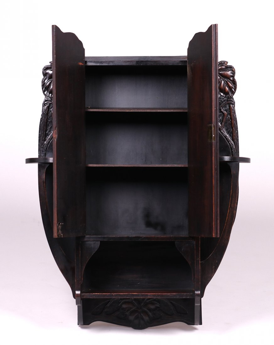 Arts & Crafts Carved Grapevine Wall Cabinet c1905 - 4