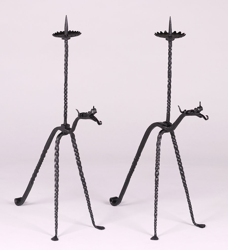 Samuel Yellin Hand-Wrought Iron Candle Stands c1920s