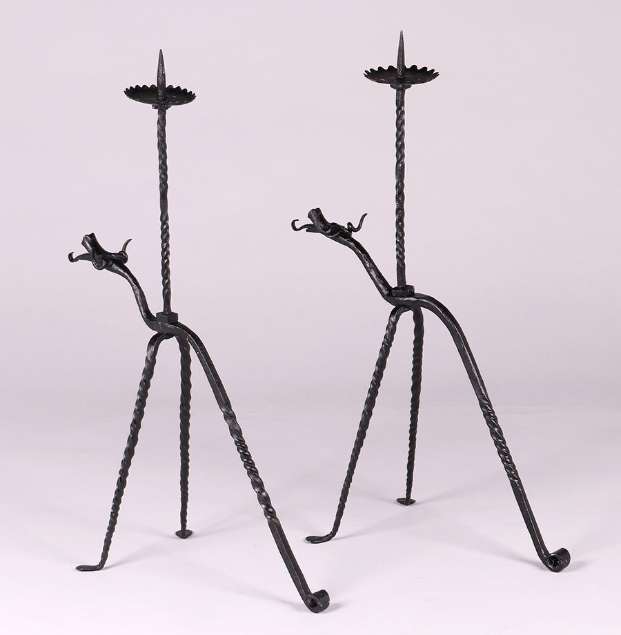 Samuel Yellin Hand-Wrought Iron Candle Stands c1920s - 3