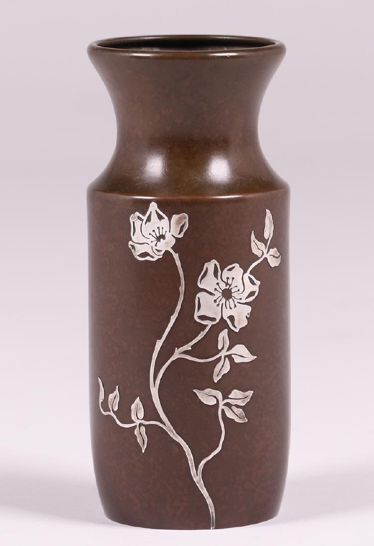 "Heintz Sterling on Bronze Floral Overlay 8"" Vase"