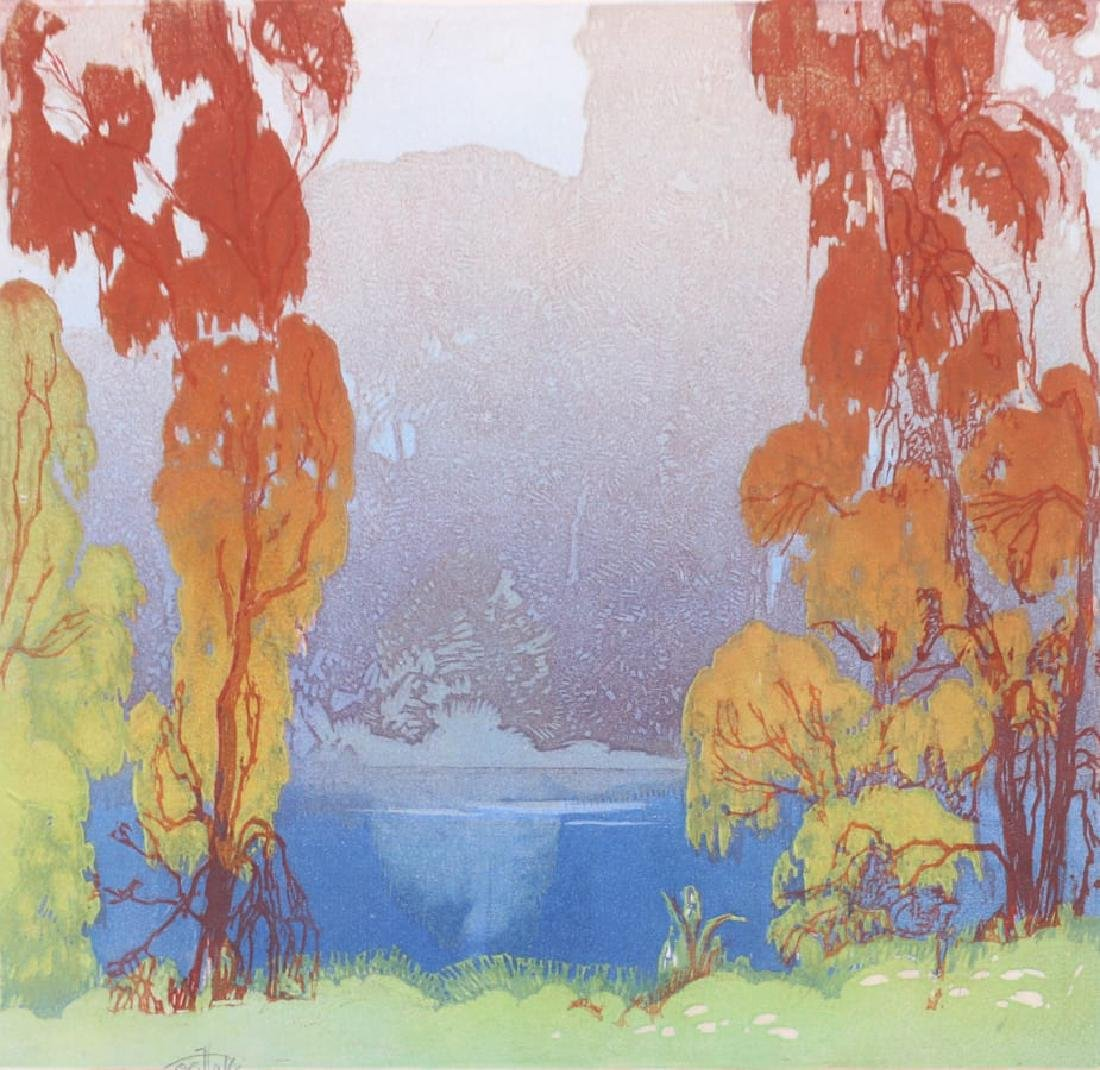 Otto Hake Woodblock Lake Forest c1930