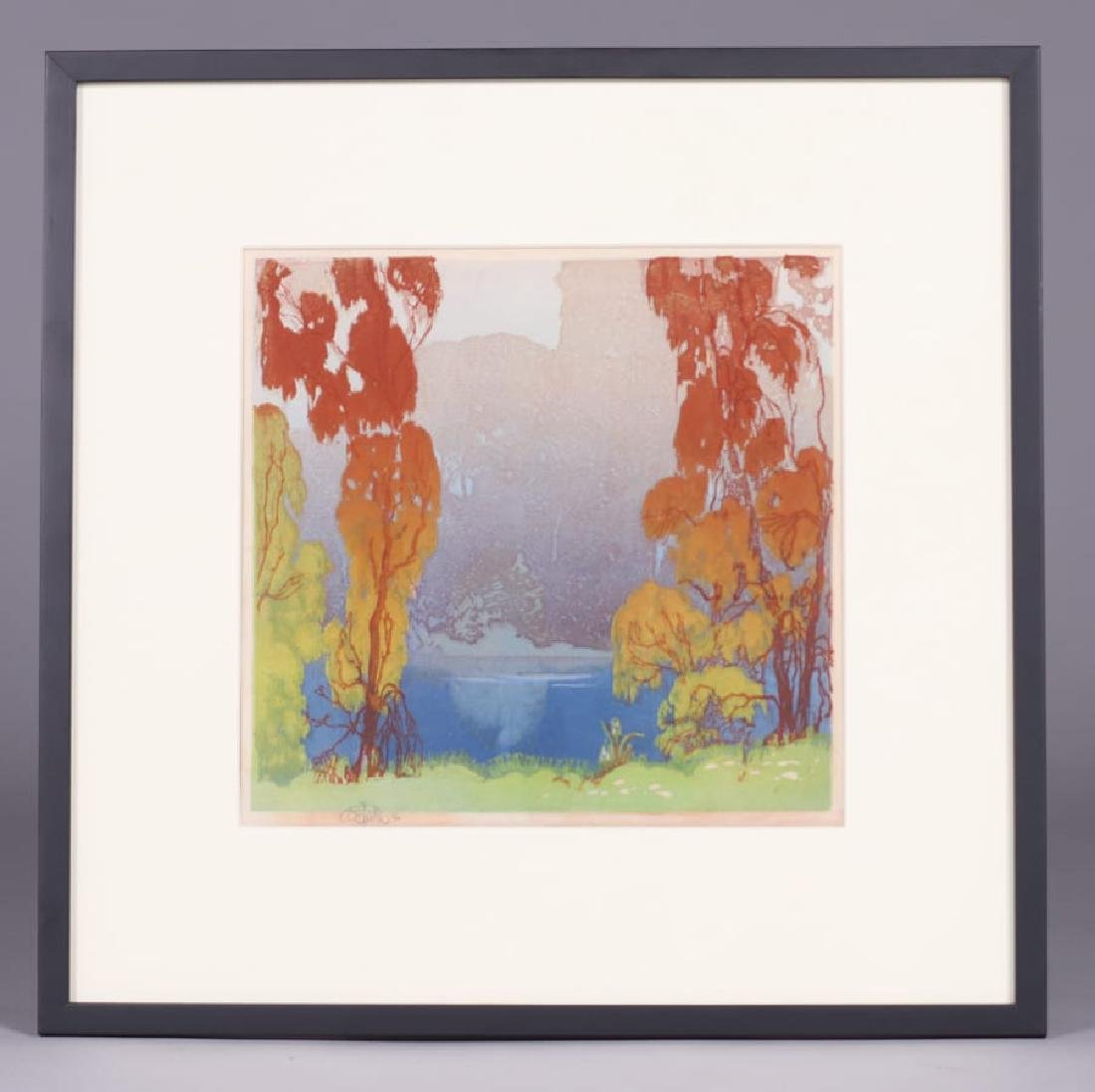 Otto Hake Woodblock Lake Forest c1930 - 2