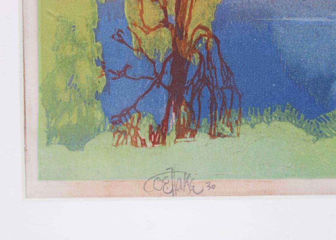 Otto Hake Woodblock Lake Forest c1930 - 3