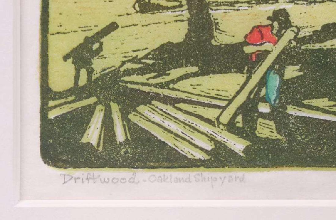 "Pedro de Lemos Woodblock ""Driftwood - Oakland Shipyard"" - 3"
