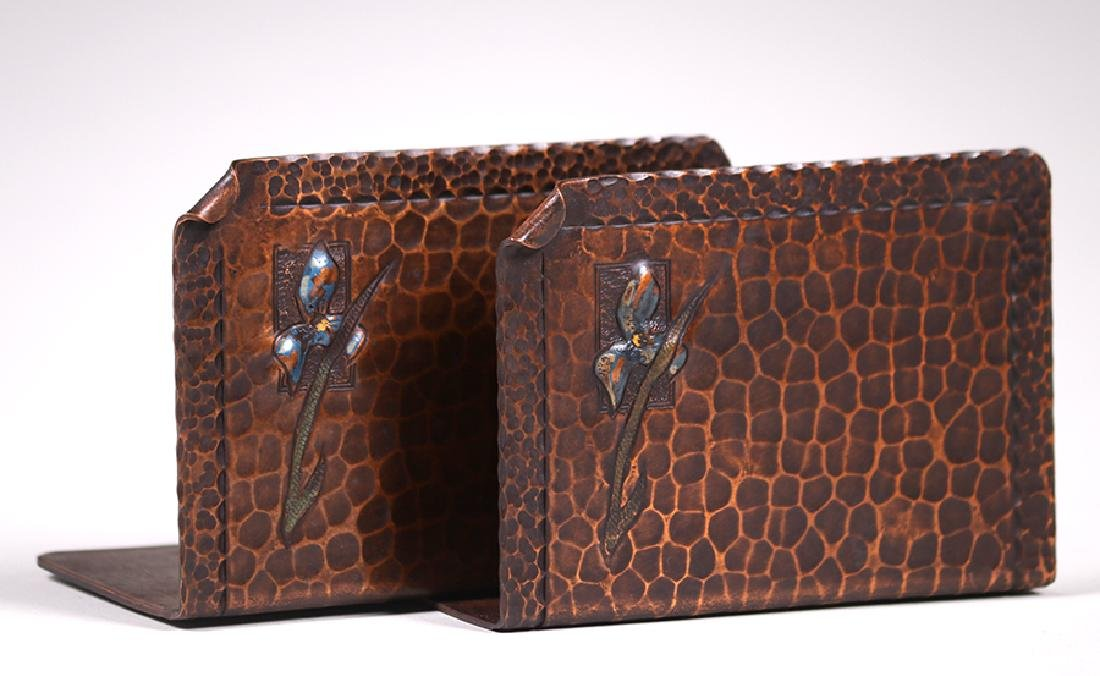 Early Craftsman Studios Hammered Copper Bookends c1920s