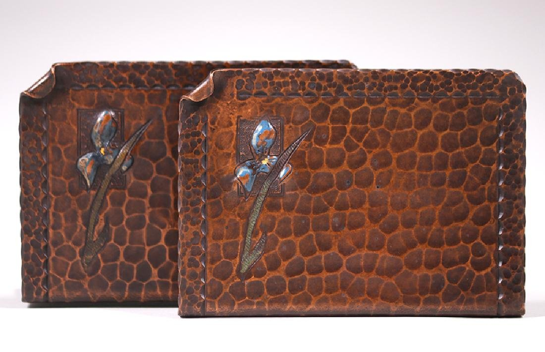 Early Craftsman Studios Hammered Copper Bookends c1920s - 2