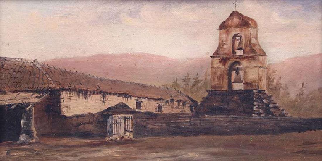 Antique Painting California Mission San Antonio de Pala