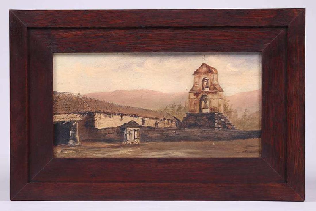 Antique Painting California Mission San Antonio de Pala - 2