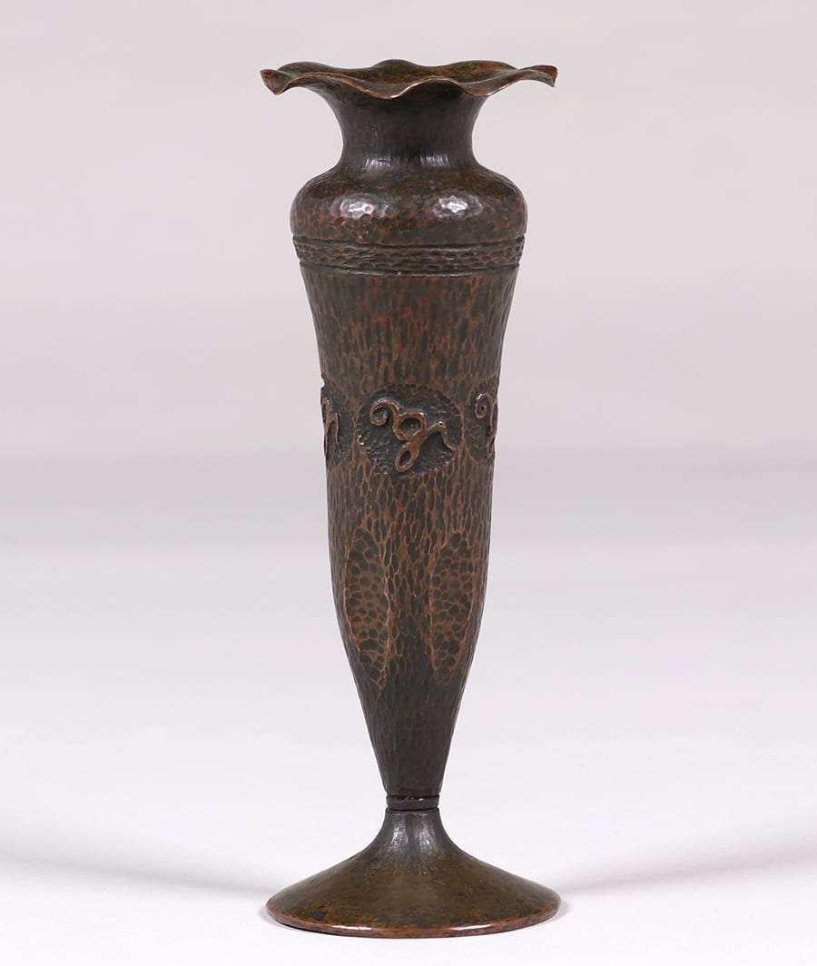 Arts & Crafts Hammered Copper Flared Vase c1910