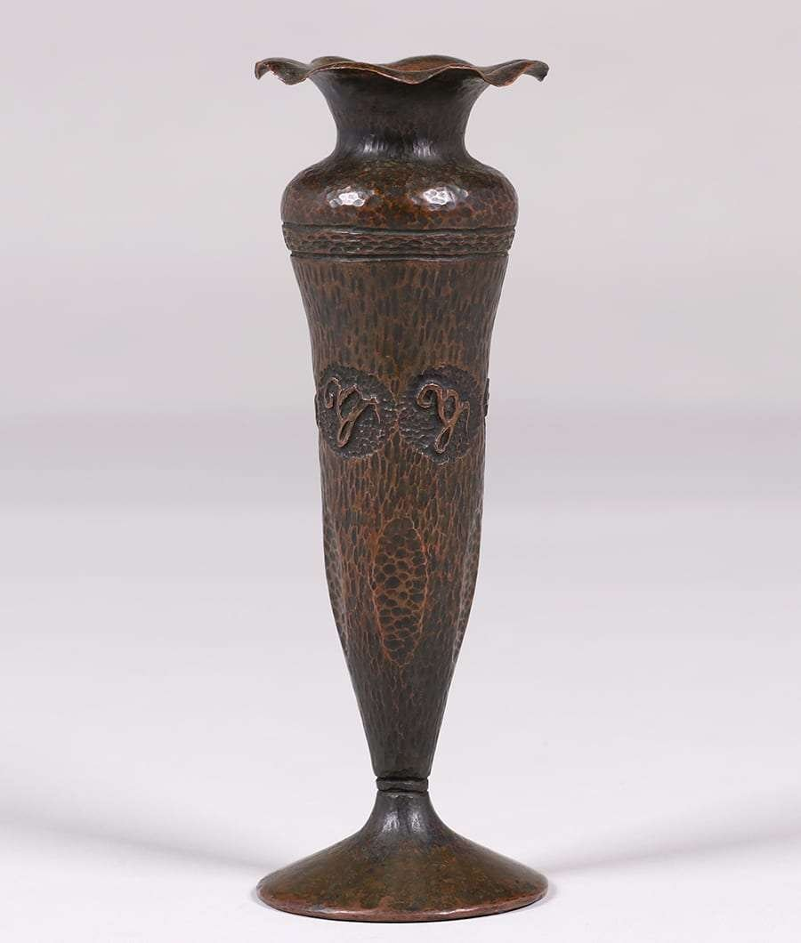 Arts & Crafts Hammered Copper Flared Vase c1910 - 2