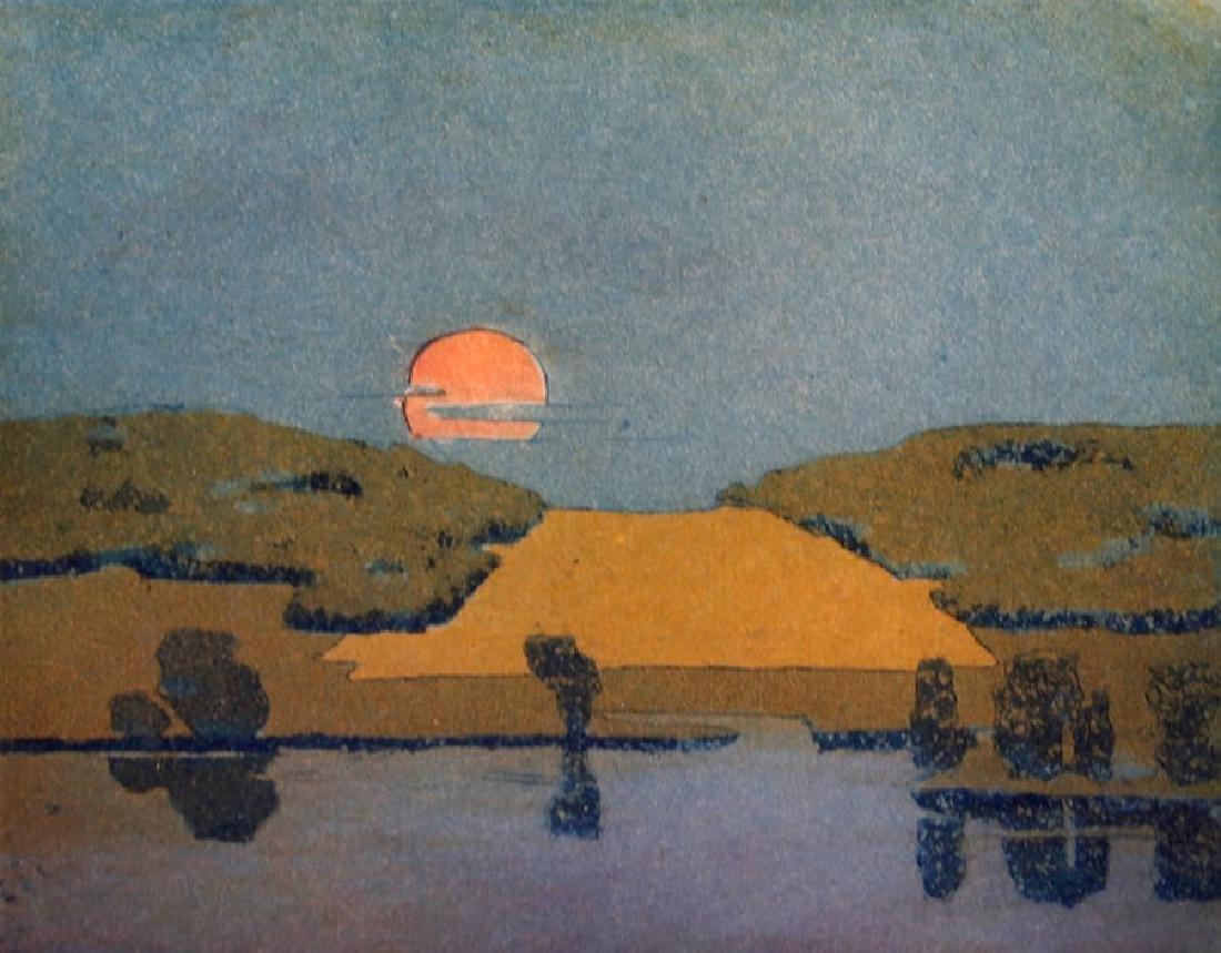 Beatrice S. Levy Woodblock Print c1910