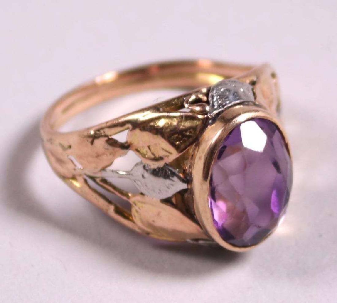 Boston Arts & Crafts 14k Gold & Amethyst Ring c1910