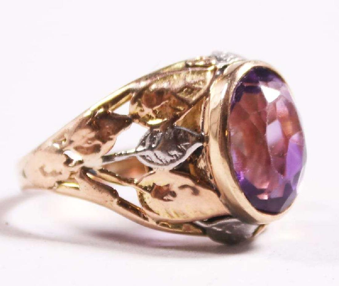 Boston Arts & Crafts 14k Gold & Amethyst Ring c1910 - 2