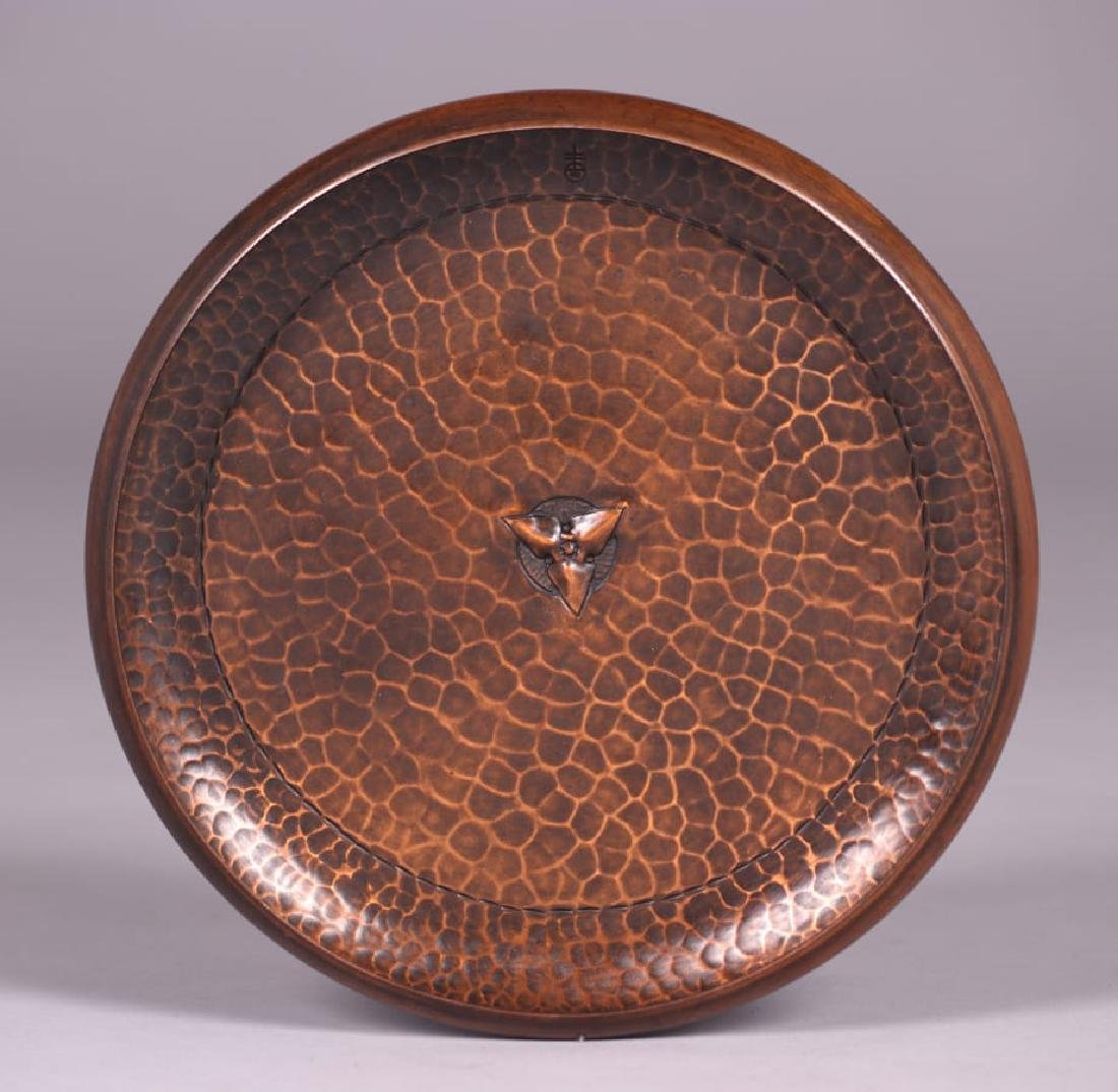 Roycroft Hammered Copper Trifoil Fruit Tray