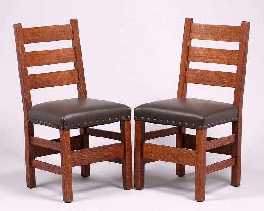 Pair Gustav Stickley #349 1/2 Side Chairs c1910