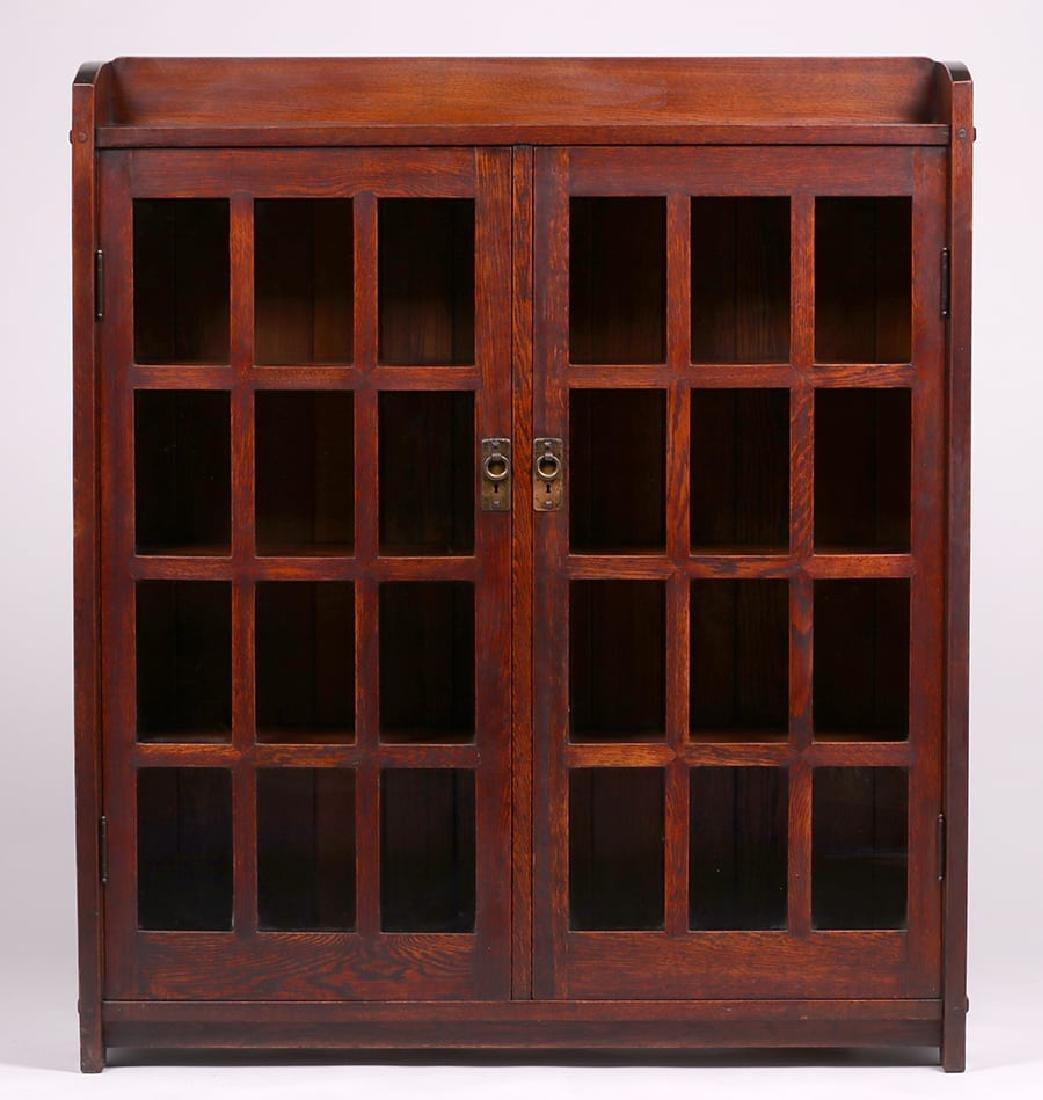 Early Gustav Stickley Mitered-Mullion Bookcase