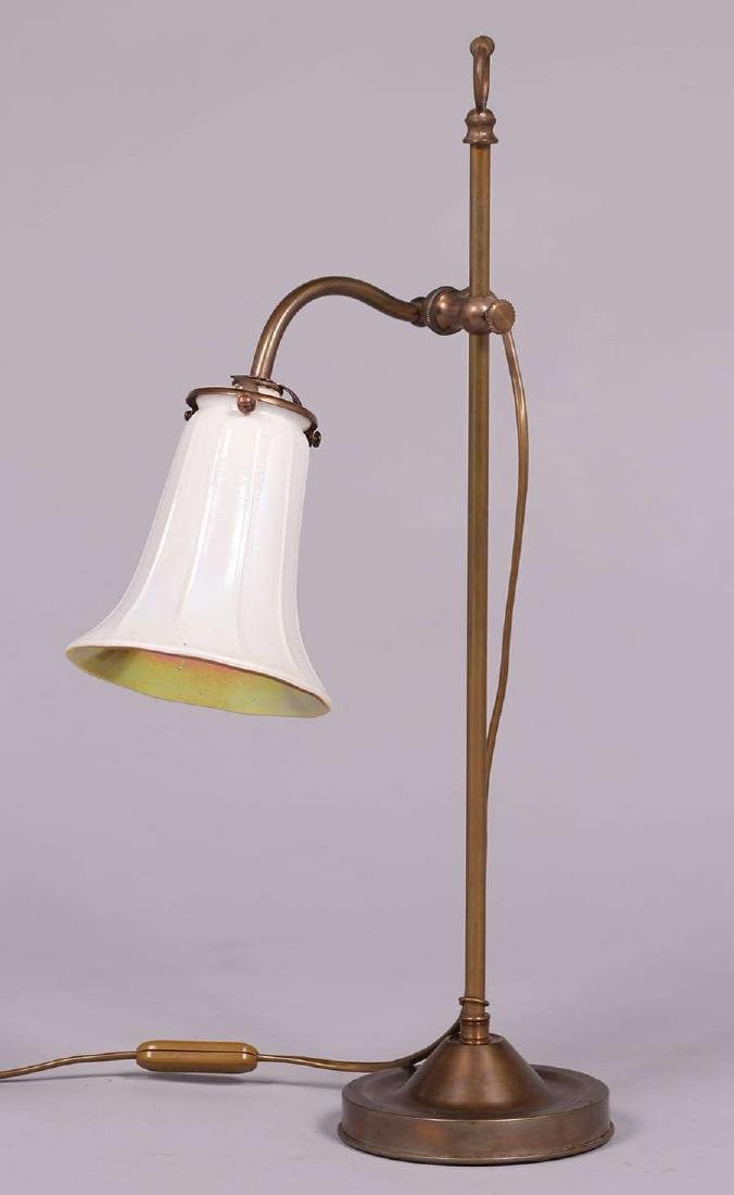 Antique Brass Desk Lamp Stueben Shade c1910 - 3