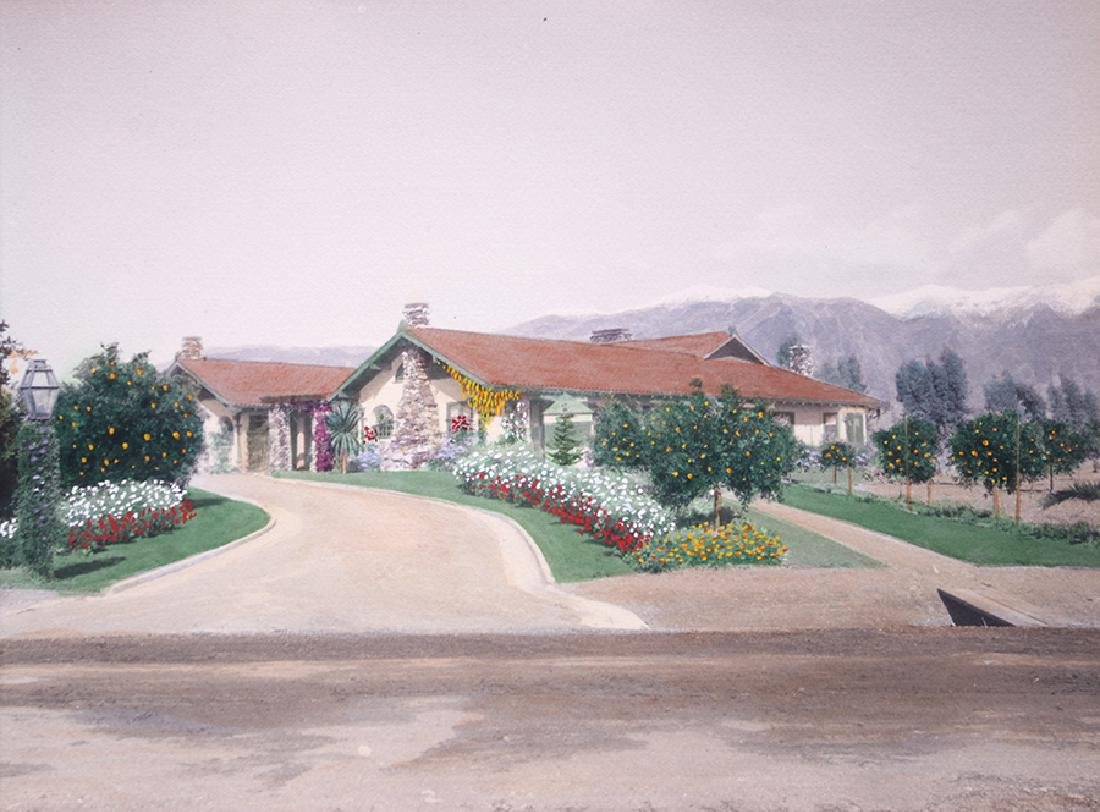 Harold Parker Hand-Tinted Photo Pasadena Bungalow c1910