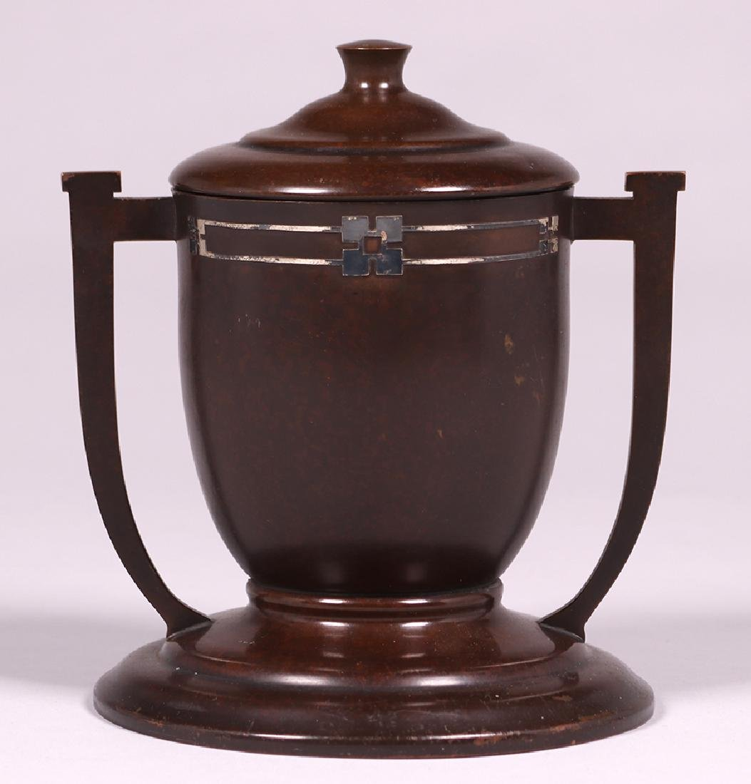 Heintz Sterling on Bronze Two-Handled Covered Trophy