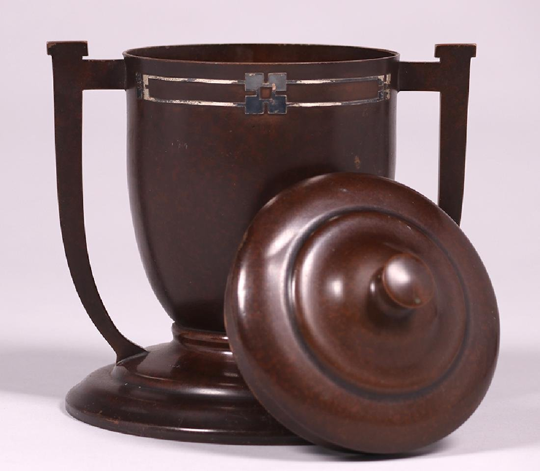 Heintz Sterling on Bronze Two-Handled Covered Trophy - 2