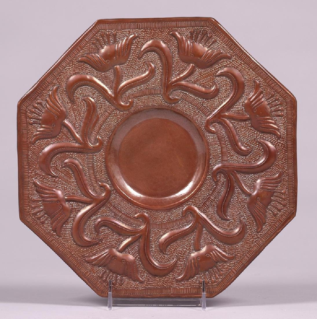 Contemporary Mexican Hammered Copper Repousse Tray