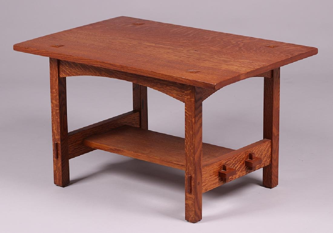 Contemporary Arts & Crafts Oak Coffee Table - 3