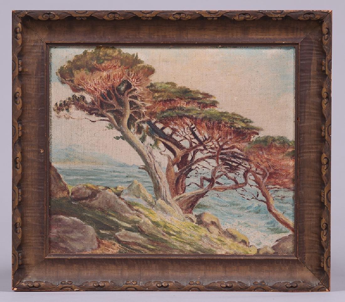 Small California Oil Painting Monterey Cypress Coastal - 2