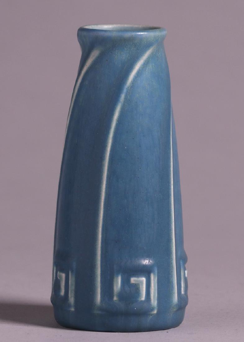 Rookwood Matte Blue Greek Key Vase 1926 - 2