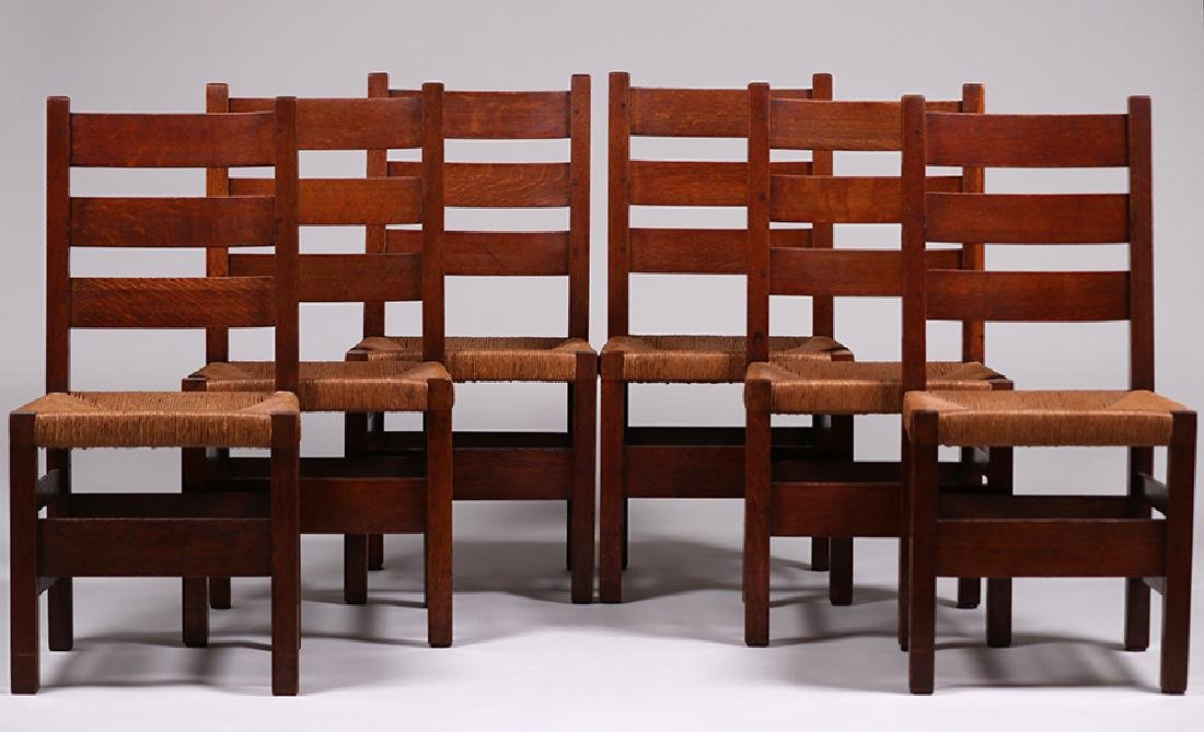 6 Gustav Stickley #349A Heavy Ladder Back Side Chairs