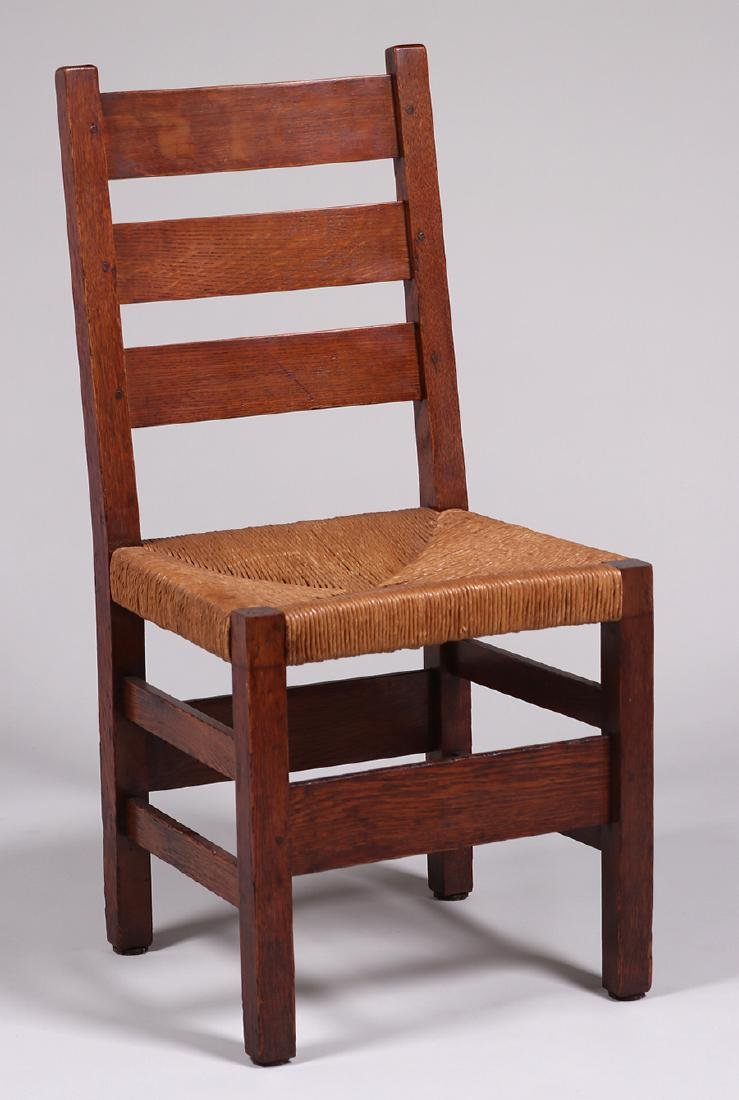 6 Gustav Stickley #349A Heavy Ladder Back Side Chairs - 2