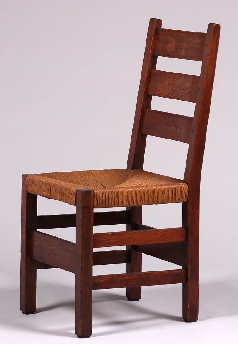 6 Gustav Stickley #349A Heavy Ladder Back Side Chairs - 3