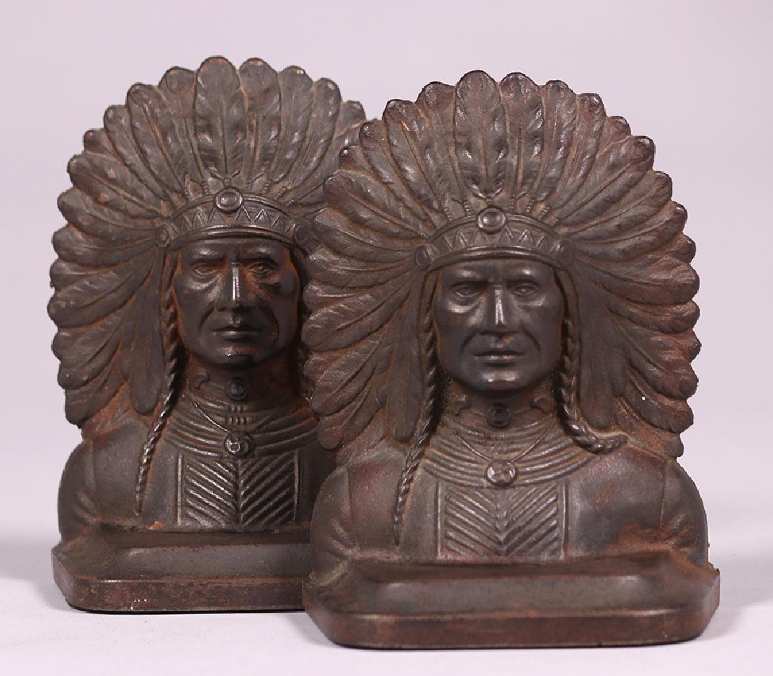Pair Native American Cast Metal Bookends c1920s