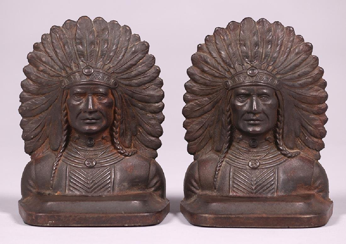 Pair Native American Cast Metal Bookends c1920s - 2