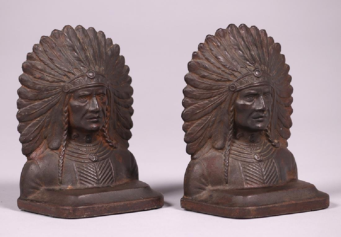 Pair Native American Cast Metal Bookends c1920s - 3