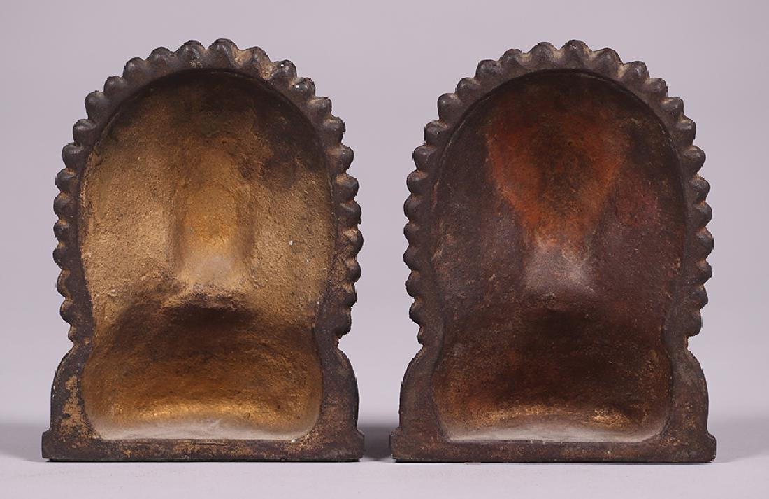 Pair Native American Cast Metal Bookends c1920s - 4