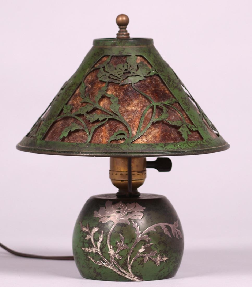 Heintz Sterling on Bronze Green Boudoir Lamp c1915
