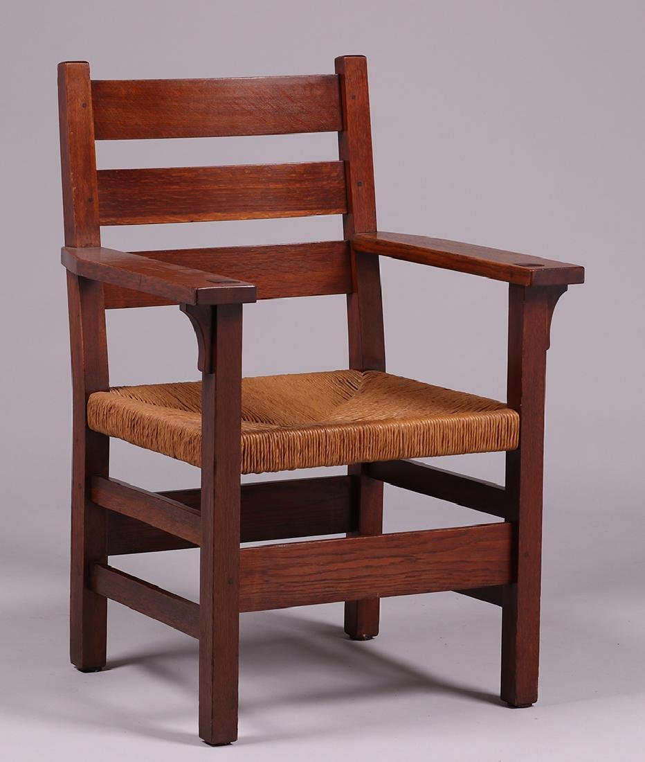 Gustav Stickley #349A Heavy Ladder Back Armchair