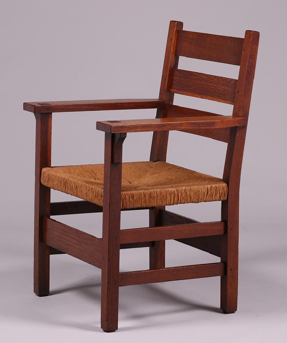 Gustav Stickley #349A Heavy Ladder Back Armchair - 2