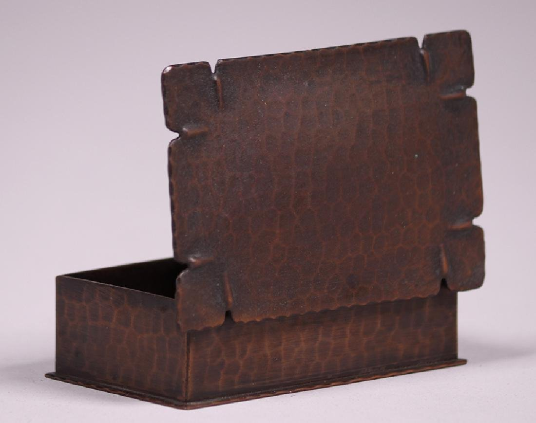 Roycroft Hammered Copper Stamp Box - 4