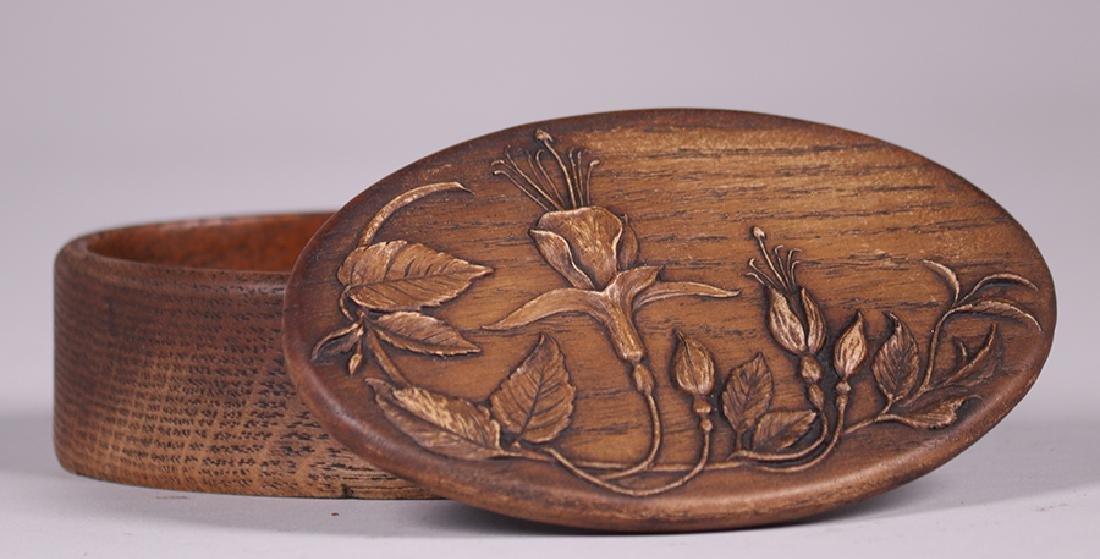 Arts & Crafts Oval Oak Box c1920s - 3