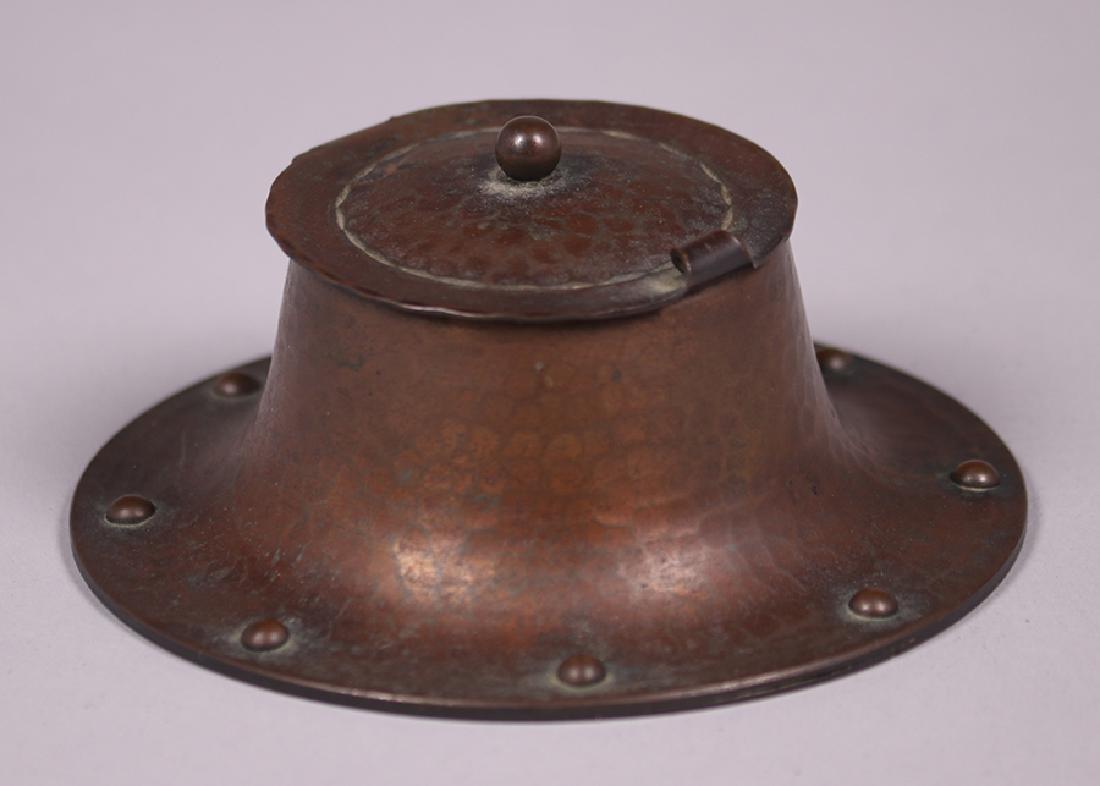 Roycroft Hammered Copper Round Inkwell