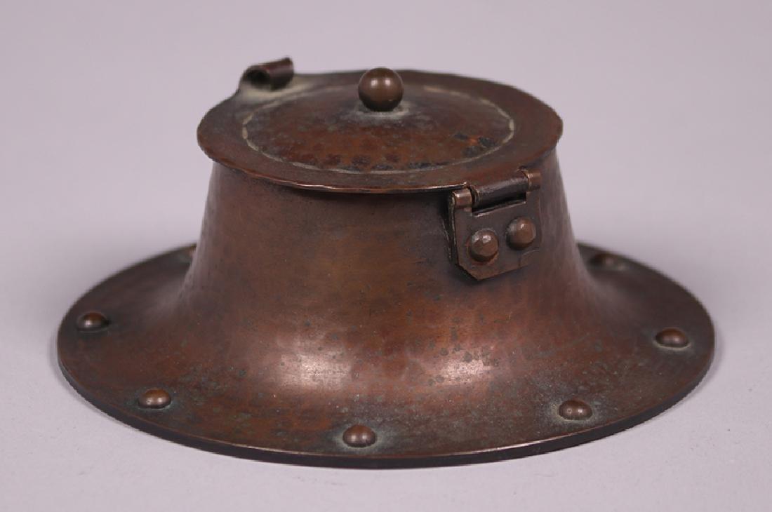 Roycroft Hammered Copper Round Inkwell - 3