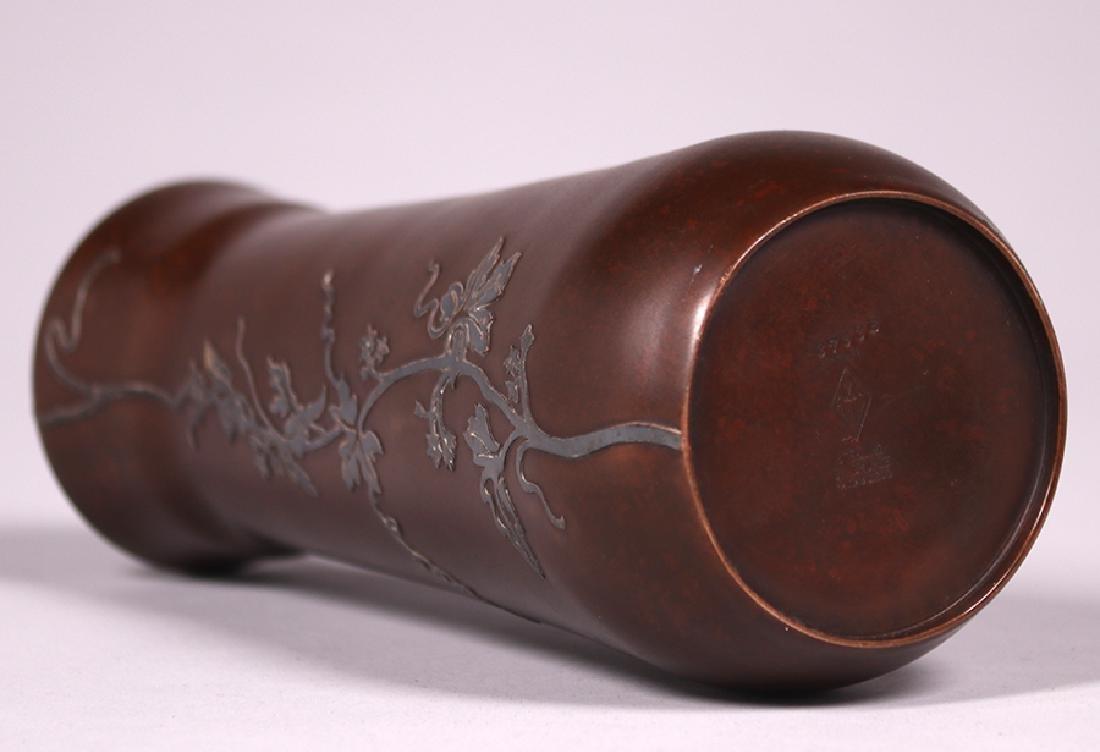 Heintz Sterling on Bronze Floral Overlay Vase - 3