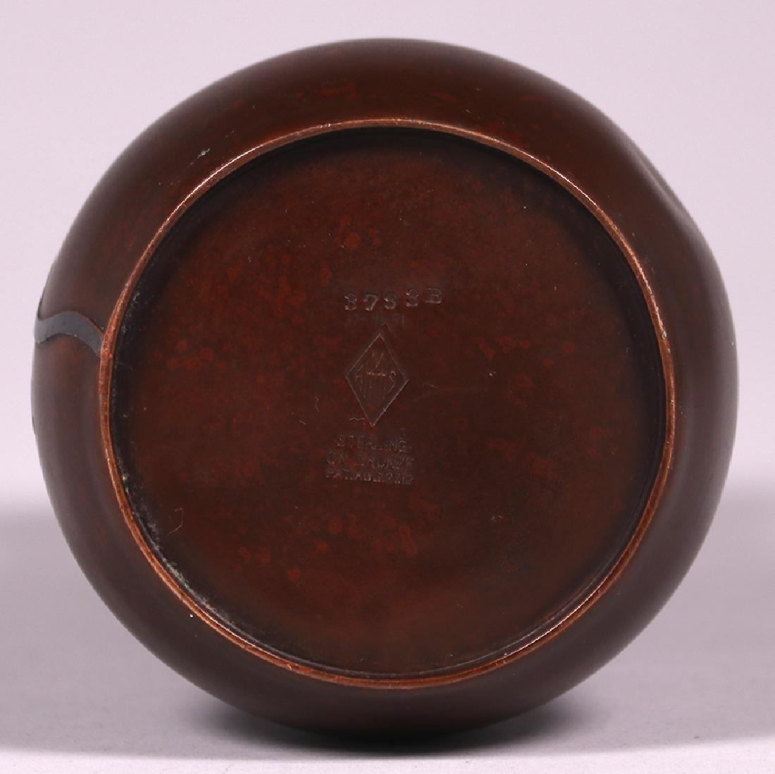 Heintz Sterling on Bronze Floral Overlay Vase - 4