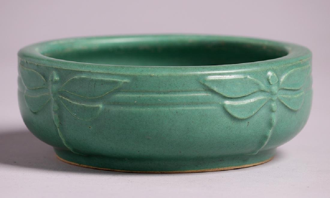Arts & Crafts Matte Green Dragonfly Bowl